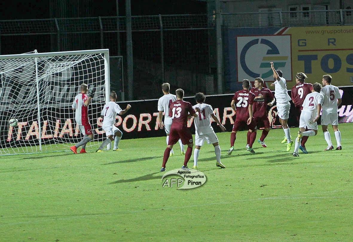 Il gol del vantaggio di Gerardi.