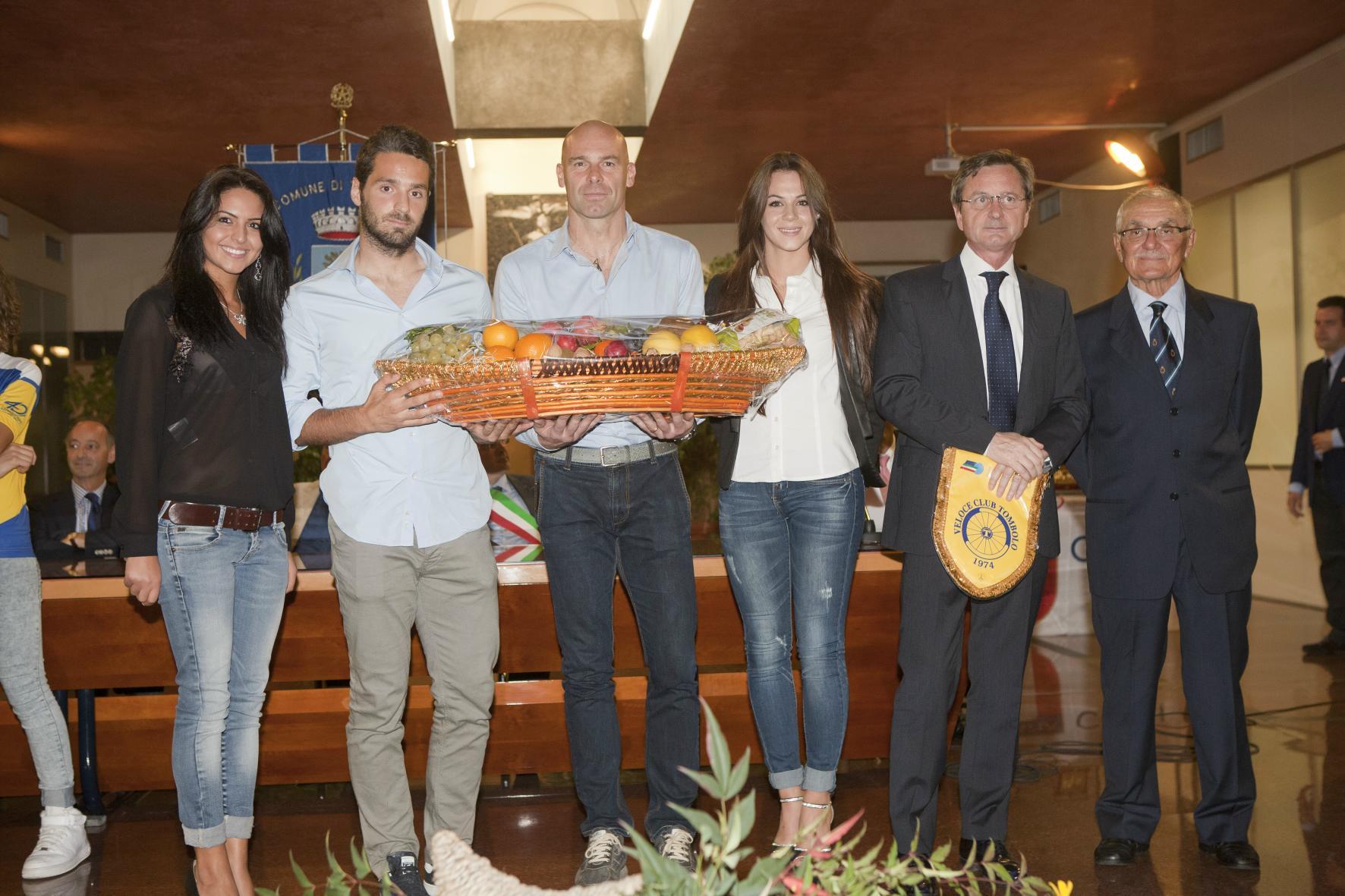 Pierobon e De Leidi omaggiati alla serata di premiazione.