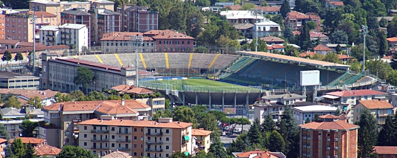 Lo Stadio di Bergamo visto dall'alto.
