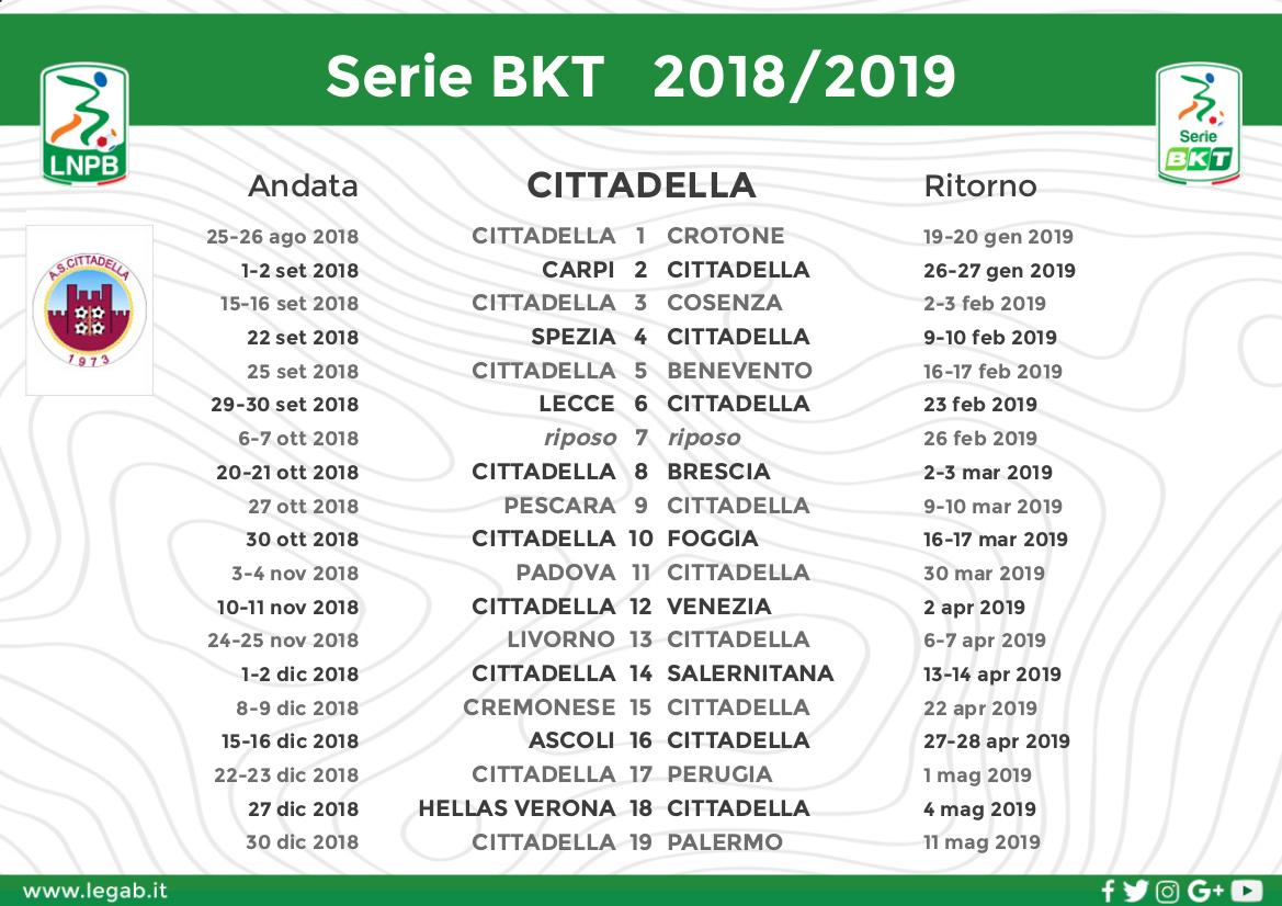 Calendario Partite Pescara.Calendario 2018 19 A S Cittadella 1973