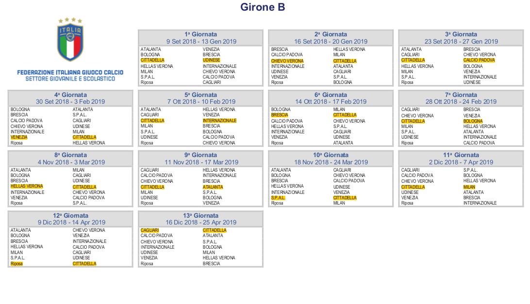 Udinese Calcio Calendario.Gironi E Calendari Under A S Cittadella 1973